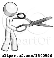 White Design Mascot Man Holding Giant Scissors Cutting Out Something