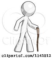 White Design Mascot Man Walking With Hiking Stick