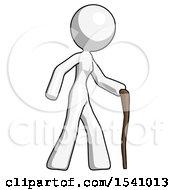 White Design Mascot Woman Walking With Hiking Stick