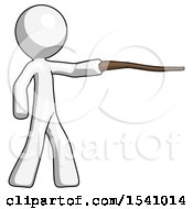 White Design Mascot Man Pointing With Hiking Stick