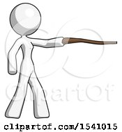 White Design Mascot Woman Pointing With Hiking Stick