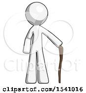 White Design Mascot Man Standing With Hiking Stick
