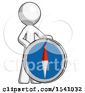 White Design Mascot Man Standing Beside Large Compass