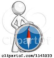 White Design Mascot Woman Standing Beside Large Compass