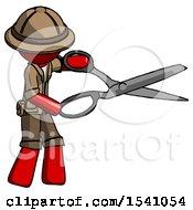Red Explorer Ranger Man Holding Giant Scissors Cutting Out Something
