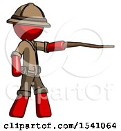 Red Explorer Ranger Man Pointing With Hiking Stick