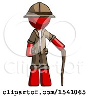 Red Explorer Ranger Man Standing With Hiking Stick