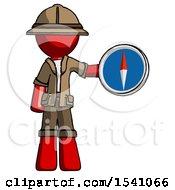 Red Explorer Ranger Man Holding A Large Compass