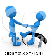 Unsuspecting Blue Man Shaking Hands On A Deal With Another Man As A Saw Cuts A Circle Out From Under Him And He Slips