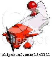 Red Design Mascot Woman In Geebee Stunt Plane Descending View