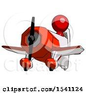 Red Design Mascot Man Flying In Geebee Stunt Plane Viewed From Below