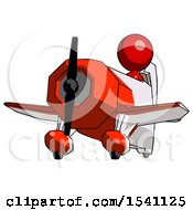 Red Design Mascot Woman Flying In Geebee Stunt Plane Viewed From Below