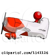 Red Design Mascot Man In Geebee Stunt Aircraft Side View