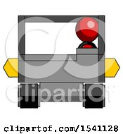 Red Design Mascot Man Driving Amphibious Tracked Vehicle Front View