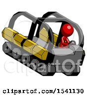 Red Design Mascot Man Driving Amphibious Tracked Vehicle Top Angle View