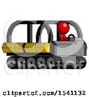 Red Design Mascot Man Driving Amphibious Tracked Vehicle Side Angle View