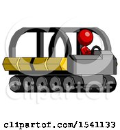 Red Design Mascot Woman Driving Amphibious Tracked Vehicle Side Angle View