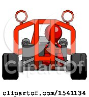 Red Design Mascot Man Riding Sports Buggy Front View