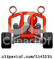 Red Design Mascot Woman Riding Sports Buggy Front View