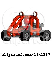 Red Design Mascot Woman Riding Sports Buggy Side Angle View