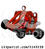 Red Design Mascot Woman Riding Sports Buggy Side Top Angle View