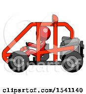 Red Design Mascot Man Riding Sports Buggy Side View