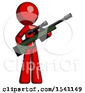 Red Design Mascot Man Holding Sniper Rifle Gun