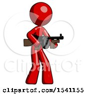 Red Design Mascot Woman Tommy Gun Gangster Shooting Pose