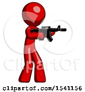 Red Design Mascot Man Shooting Automatic Assault Weapon