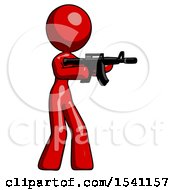 Red Design Mascot Woman Shooting Automatic Assault Weapon