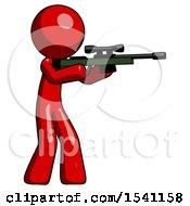 Red Design Mascot Man Shooting Sniper Rifle