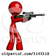 Red Design Mascot Woman Shooting Sniper Rifle
