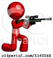 Red Design Mascot Man Kneeling Shooting Sniper Rifle