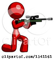Red Design Mascot Woman Kneeling Shooting Sniper Rifle