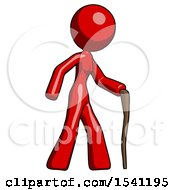 Red Design Mascot Woman Walking With Hiking Stick