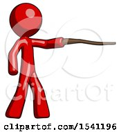 Red Design Mascot Man Pointing With Hiking Stick