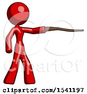 Red Design Mascot Woman Pointing With Hiking Stick