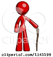 Red Design Mascot Woman Standing With Hiking Stick
