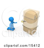 Desperate Blue Person On A Restricted Diet Kneeling And Begging In Front Of A Refrigerator That Is Chained And Locked Clipart Illustration Image