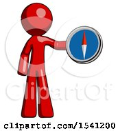Red Design Mascot Man Holding A Large Compass