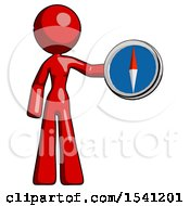 Red Design Mascot Woman Holding A Large Compass