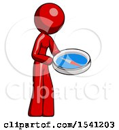 Red Design Mascot Woman Looking At Large Compass Facing Right