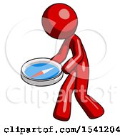 Red Design Mascot Man Walking With Large Compass