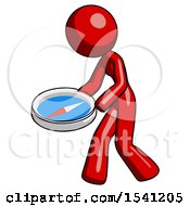 Red Design Mascot Woman Walking With Large Compass