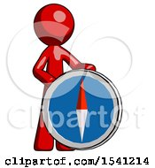 Red Design Mascot Man Standing Beside Large Compass