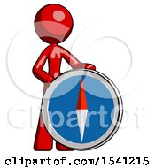 Red Design Mascot Woman Standing Beside Large Compass