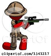 Red Explorer Ranger Man Kneeling Shooting Sniper Rifle