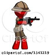 Red Explorer Ranger Man Shooting Automatic Assault Weapon