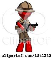 Red Explorer Ranger Man Tommy Gun Gangster Shooting Pose