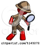 Red Explorer Ranger Man Inspecting With Large Magnifying Glass Right